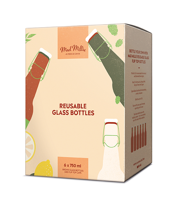 Mad Millie Reusable Brown Glass Flip Top Bottles 750ml x 6